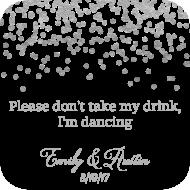 Wedding Drink Coaster - Silver Confetti