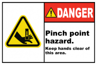 Safety Label - Pinch Point Hazard Keep Clear