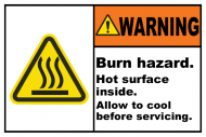 Safety Label - Burn Hazard Hot Surface