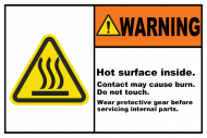 Safety Label - Hot Surface Inside Do Not Touch