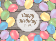 Birthday Soda Label - Balloons on Wood Background