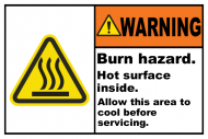 Safety Label - Burn Hazard Hot Surface Inside