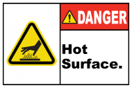 Safety Label - Danger Hot Surface