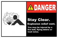 Safety Label - Stay Clear Explosion Relief Vent
