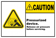 Safety Label - Pressurized Device Release Air