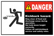 Safety Label - Kickback Hazard Stay Clear