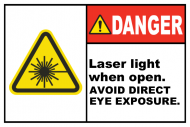 Safety Label - Danger Laser Light When Open
