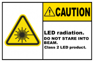 Safety Label - LED Radiation Class 2 LED Product