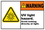 Safety Label - UV Light Hazard Avoid Looking