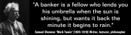 Bumper Sticker - Mark Twain Bankers Lend Umbrella When Sunny