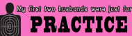 Bumper Sticker - My First Two Husbands Were Just For Practice