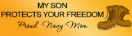Bumper Sticker - Navy My Son Protects Your