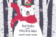 Holiday Mini Champagne Label - Beary Merry New Year