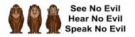 Bumper Sticker - 3 Monkeys See No Evil Hear No Evil See No Evil