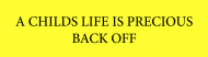 Bumper Sticker - A Childs Life Is Precious Back Off Customized