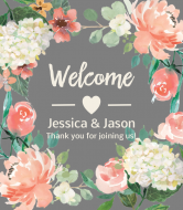 Wedding Champagne Label - Floral Wedding Welcome