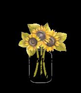 Wedding Champagne Label - Sunflower Mason Jar