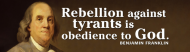 Bumper Sticker - Ben Franklin Quote On Tyranny And God