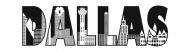Bumper Sticker - Dallas Text With Buildings Outline Drawing