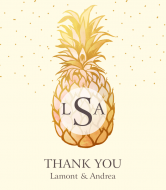 Wedding Wine Label - Pineapple Monogram