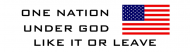 Bumper Sticker - One Nation Under God Like It Or Leave