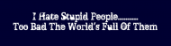 Bumper Sticker - I Hate Stupid People Too Bad The Wo