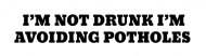 Bumper Sticker - Im Not Drunk Im Avoiding Potholes