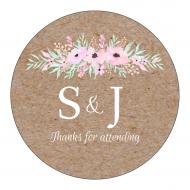 Wedding Label - Pinkish Blooms