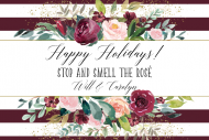 Holiday Mini Wine Label - Christmas Roses
