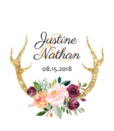 Wedding Champagne Label - Floral Antlers