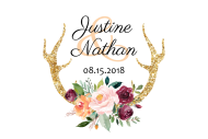 Wedding Mini Wine Label - Floral Antlers