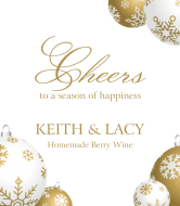 Holiday Wine Label - Gold Ornaments