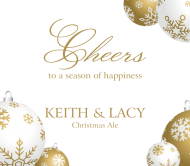 Holiday Beer Label - Gold Ornaments