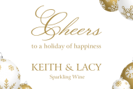 Holiday Mini Champagne Label - Gold Ornaments