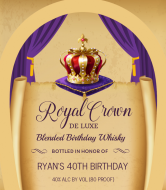 Birthday Liquor Label - Royal Crown