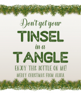 Holiday Wine Label - Tinsel In A Tangle