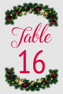 Wedding Table Number Label - Holiday Garland