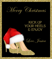 Holiday Wine Label - Christmas Gold High Heels