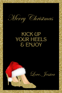 Holiday Large Wine Label - Christmas Gold High Heels