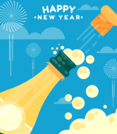 Holiday Champagne Label - Happy New Year Champagne Bottle