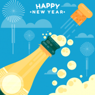 holiday sticker happy new year champagne bottle