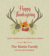 Holiday Wine Label - Thanksgiving Deer