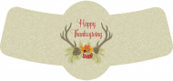 Holiday Bottle Neck Label - Thanksgiving Deer
