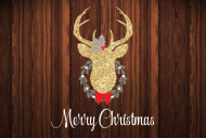 Holiday Mini Wine Label - Gold Glitter Deer