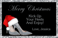 Holiday Mini Wine Label - Christmas Silver High Heels