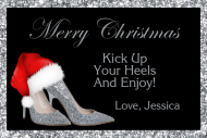 Holiday Mini Champagne Label - Christmas Silver High Heels