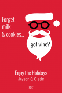 Holiday Large Wine Label - Hipster Santa