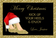 Holiday Mini Champagne Label - Christmas Gold High Heels