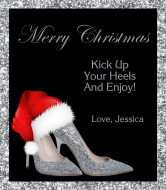 Holiday Champagne Label - Christmas Silver High Heels