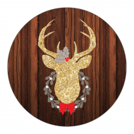 Holiday Sticker - Gold Glitter Deer